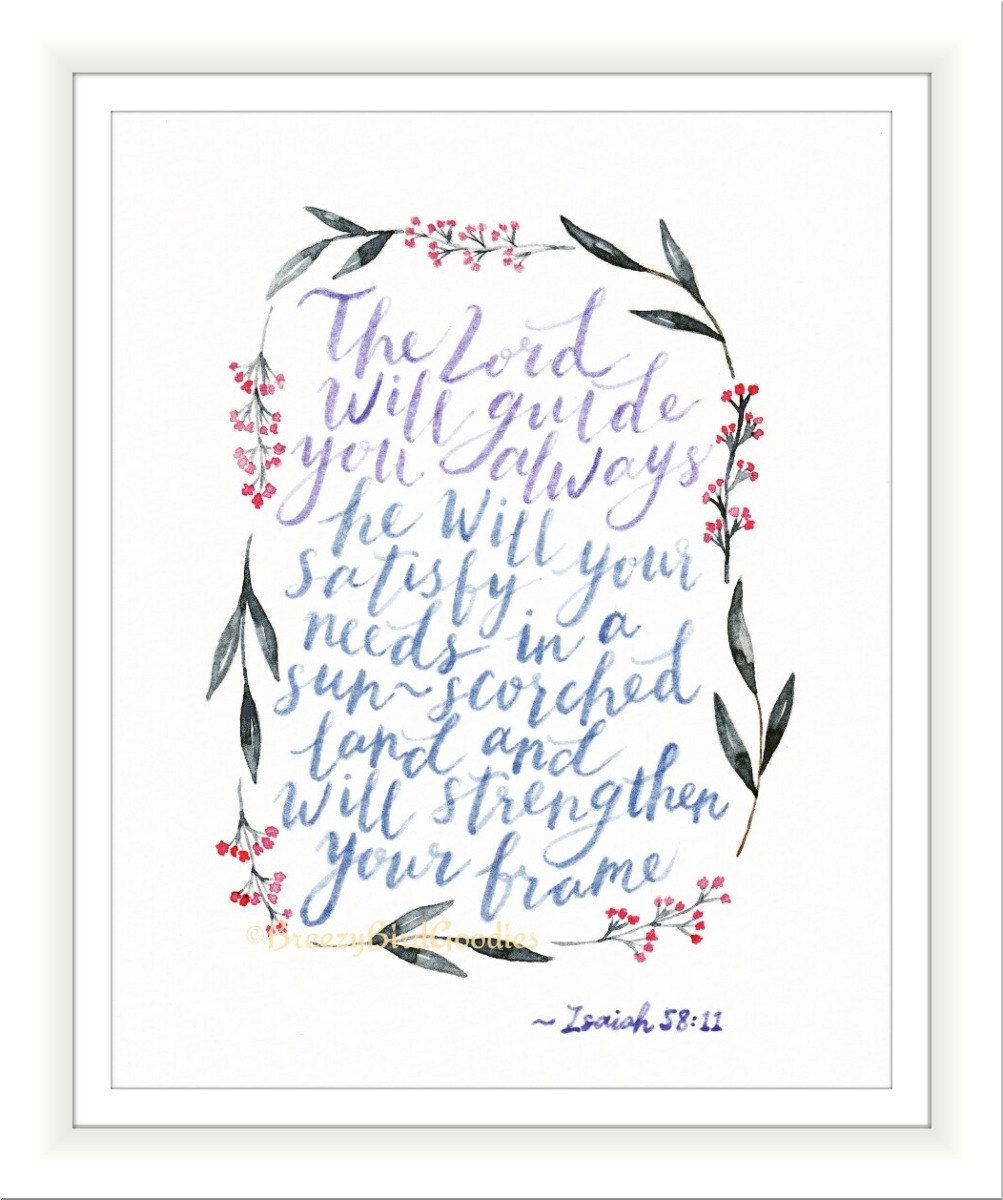Inspirational scripture art print watercolour painting