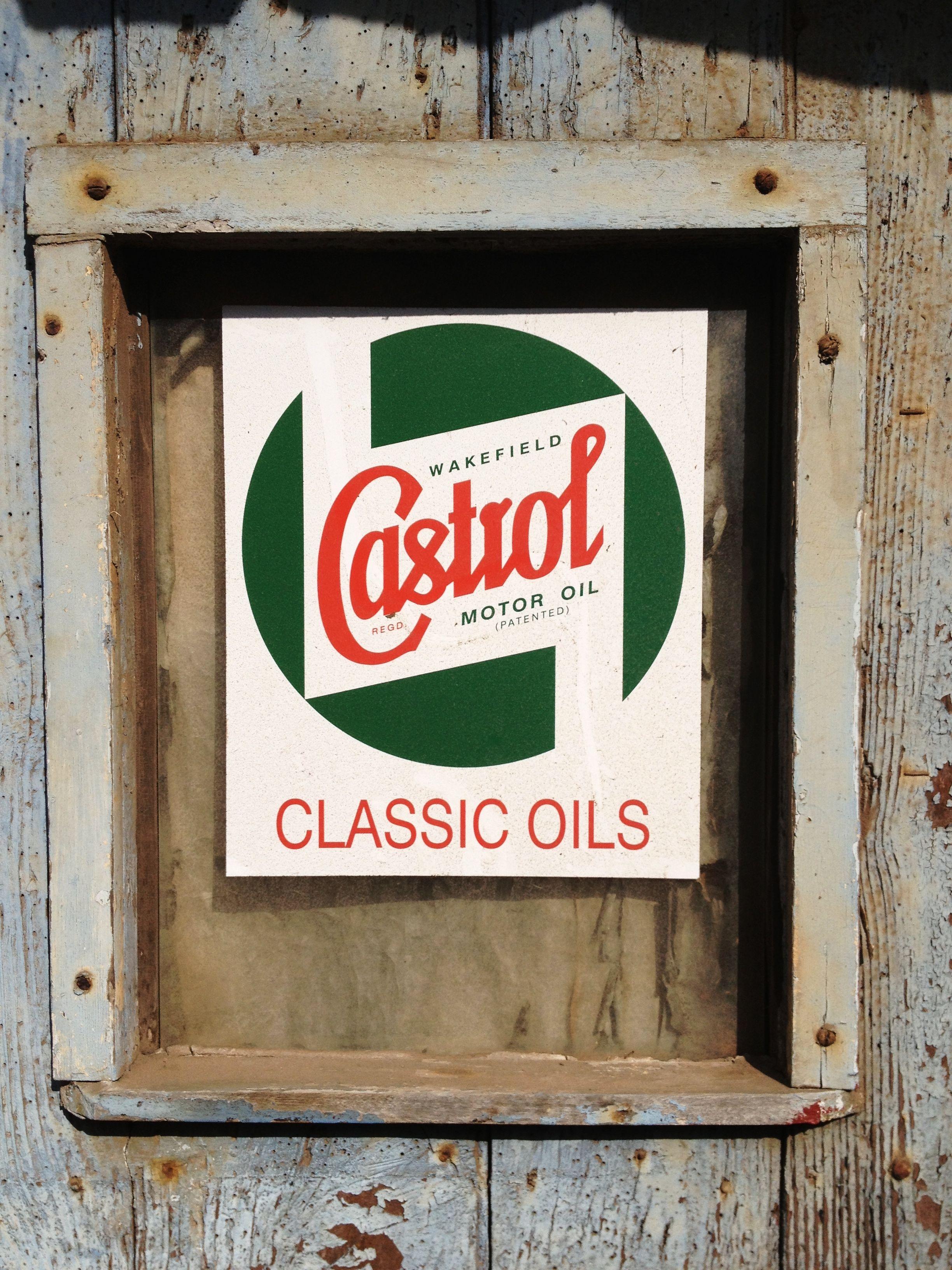 Vintage Castrol Oil sign.. In its original position at Tuckenhay ...