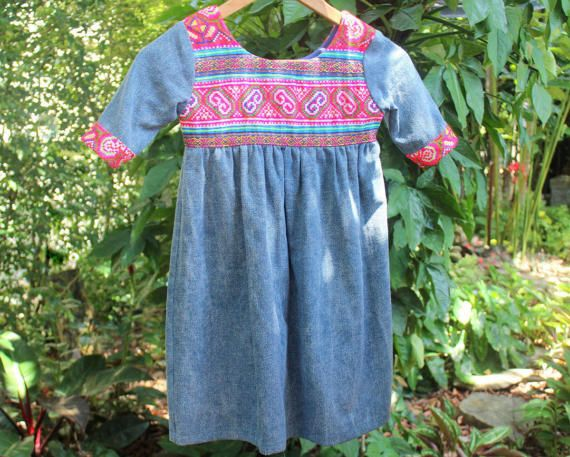 Little Girls Ecofriendly Boho Dress With Hmong Embroidery In Blue Cotton by SiameseDreamDesign