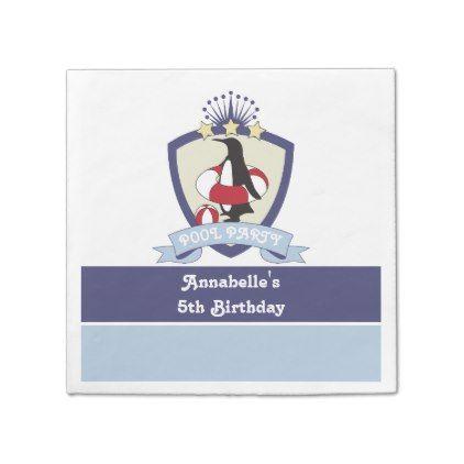 #template - #Penguin Swim Club Kids Birthday Pool Party Napkin