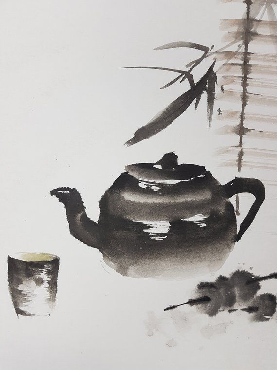 Original Chinese Brush Painting Bamboo Curtain Traditional Etsy