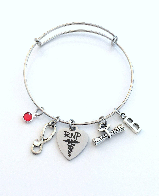 f642c7ca7 RNP Graduation Bracelet, Registered Nurse Practitioner Grad Gift for RPN  Student present Silver Bangle custom 2019 charm Jewelry her by  aJoyfulSurprise on ...
