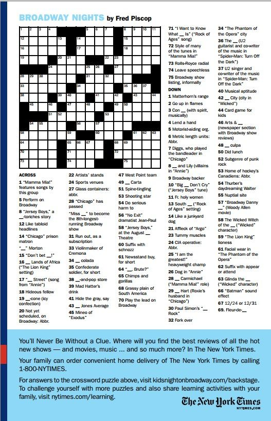 For More Tony Fun Like This Broadway Crossword Puzzle Visit