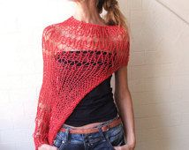 RED shrug / red sweater / Eco Fairtrade Cotton Loose weave shrug