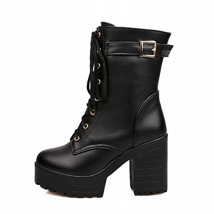 0fb020e9183 Amazon.com   Carol Shoes Fashion Women's Lace-up Buckle Combat ...