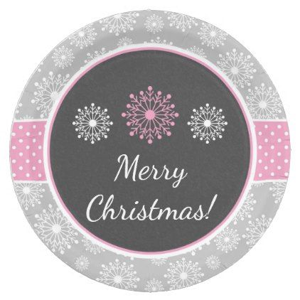 sc 1 st  Pinterest & Pink Gray and White Winter Christmas Snowflakes Paper Plate