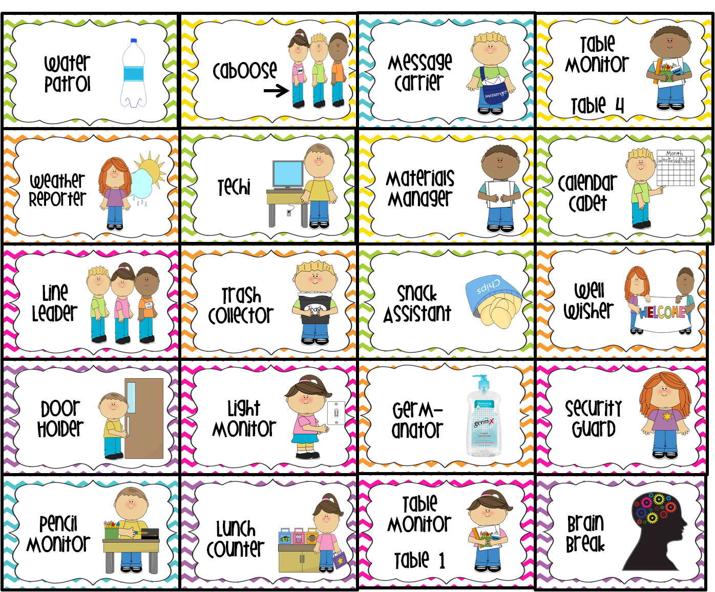 Classroom Jobs Printable | Water Patrol (2), Caboose, Message Carrier, Table