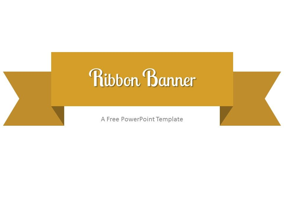 Free Gold Ribbon Banner Powerpoint Template  Clean Powerpoint