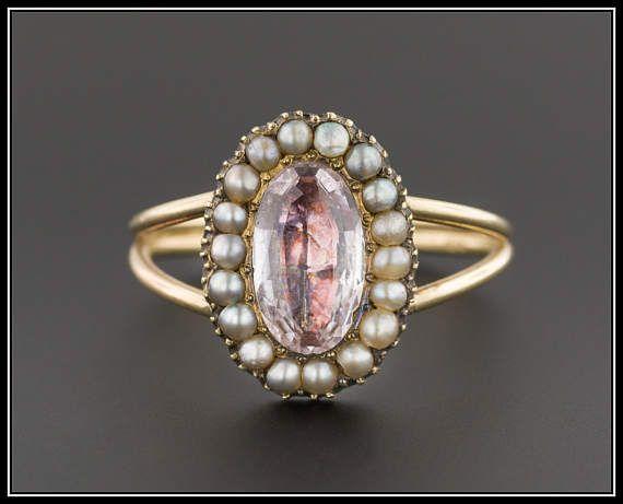 Antique Pink Tourmaline & Pearl Ring | Antique Pin Conversion Ring | 10k Gold Georgian Closed Back Tourmaline Ring