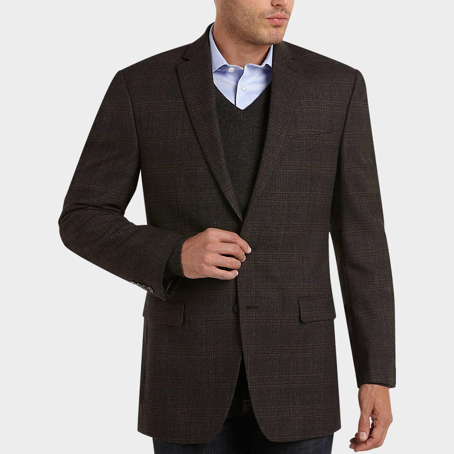 Buy a Calvin Klein Brown Plaid Slim Fit Sport Coat and other Slim ...