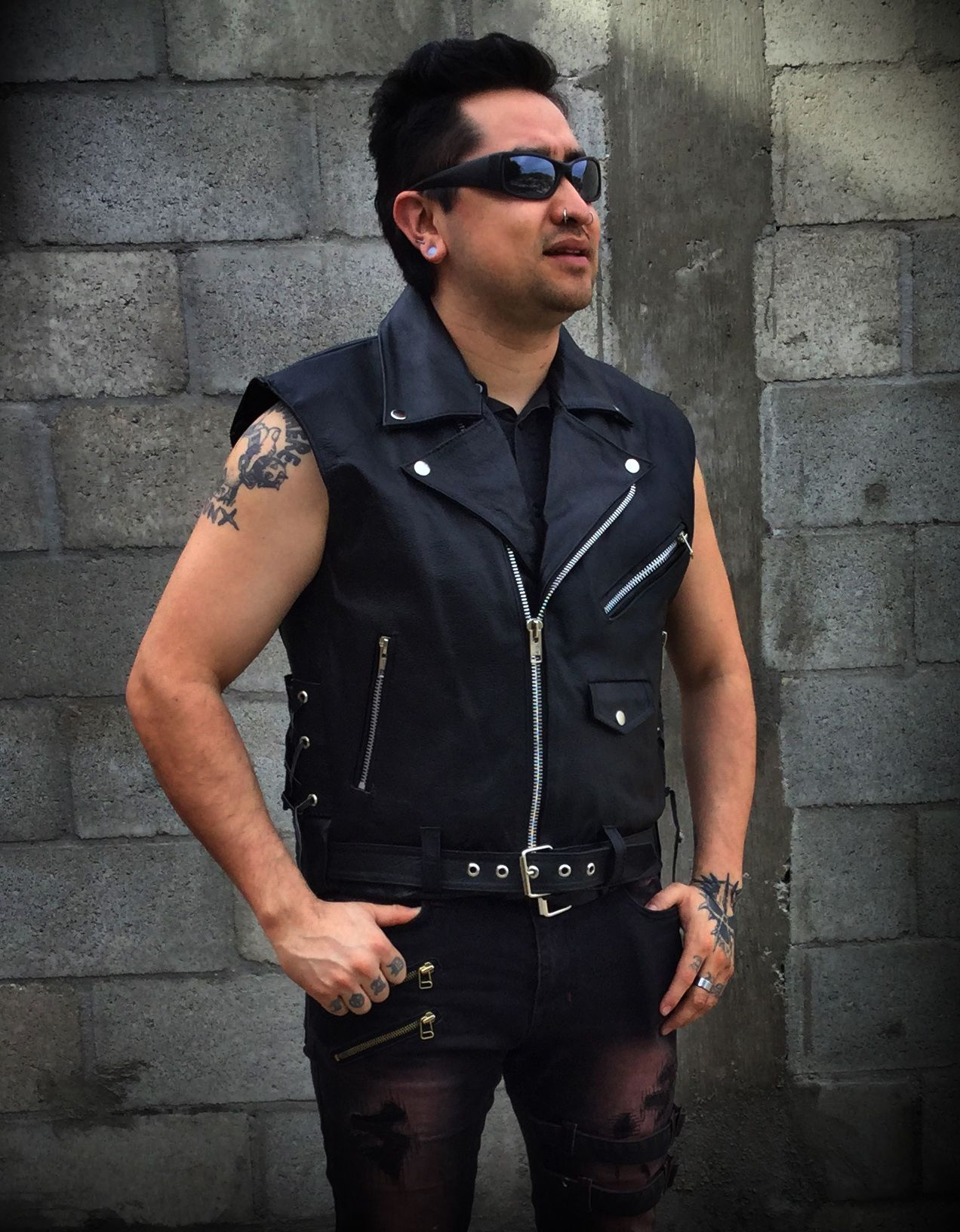 Black Leather Biker Vest 100% Real Leather www.nuclearwasteunderground.com