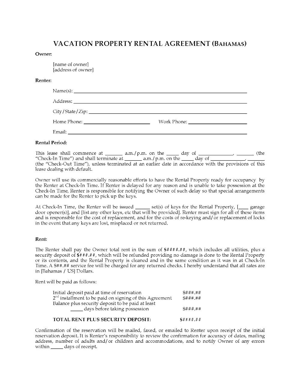 Bahamas Vacation Property Rental Agreement Legal Forms And Throughout Vacation Home Rental A Rental Agreement Templates Vacation Property Vacation Home Rentals