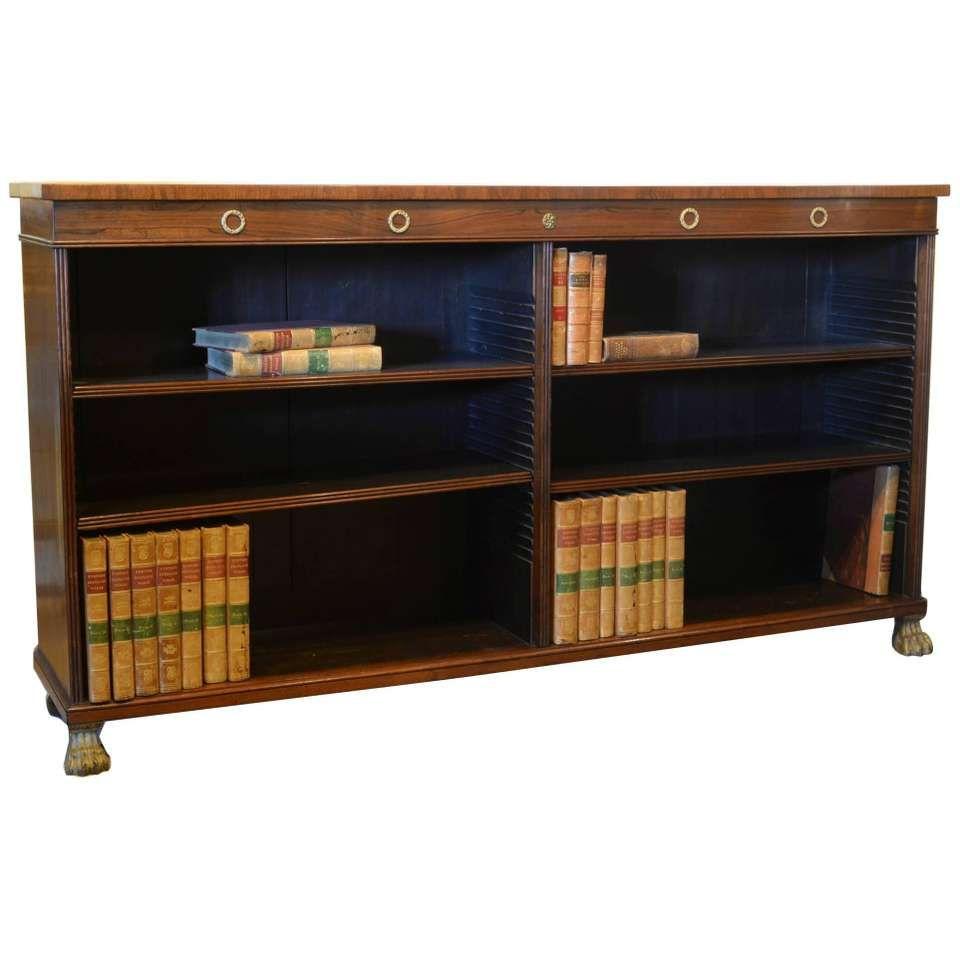 english regency rosewood open bookcase