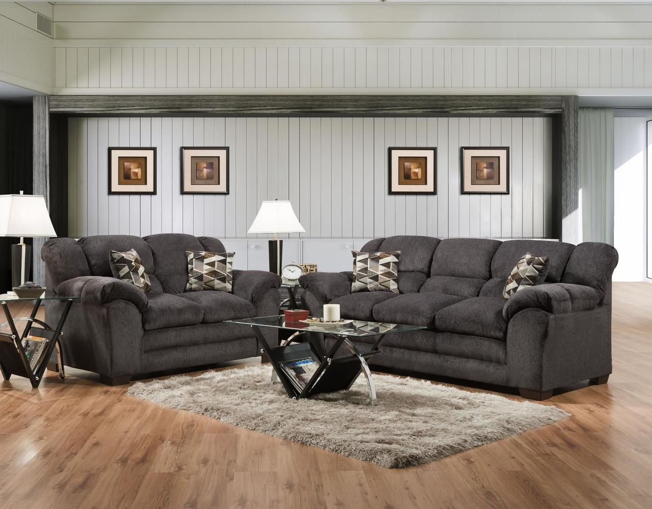 Best Delta Osaka Sumi Charcoal Sofa Loveseat Set Living 400 x 300