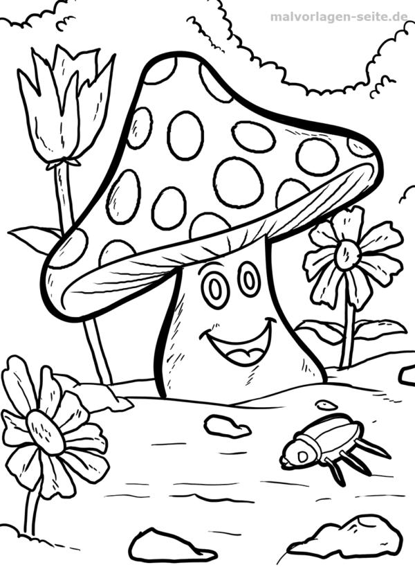 Malvorlage / Ausmalbild Pilz - Unsere Malvorlagen zeigen die ...