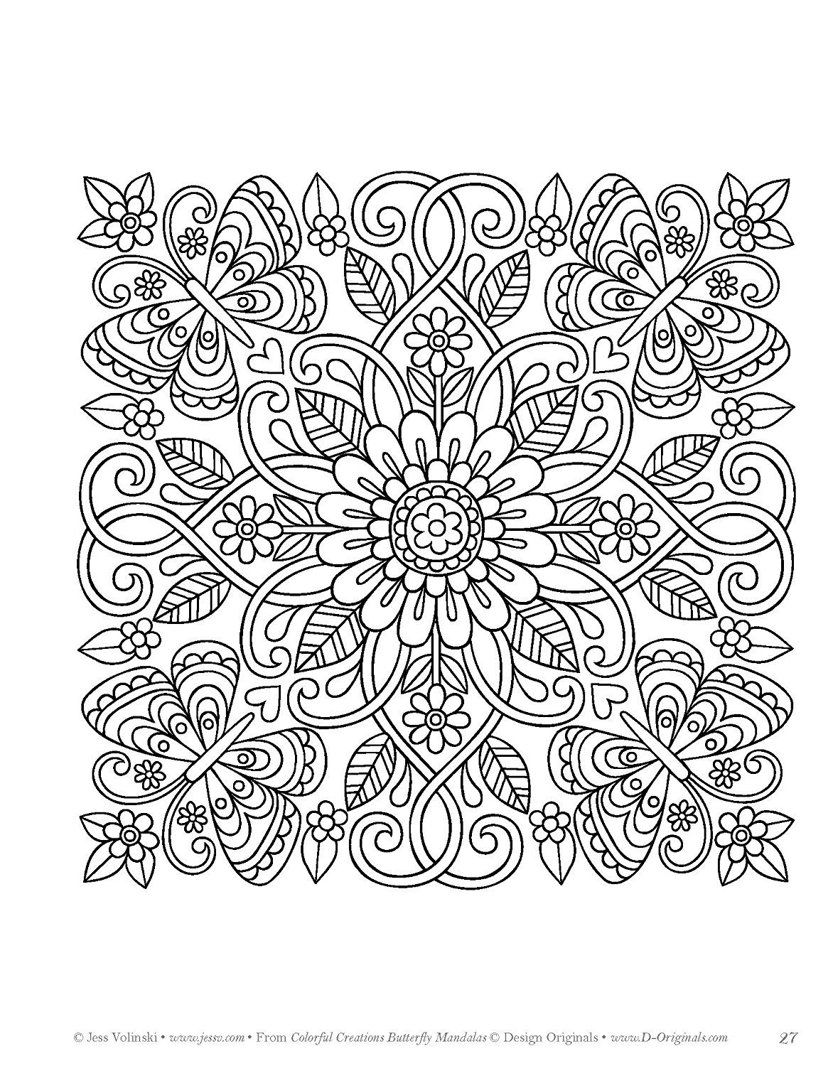 Colorful Creations Butterfly Mandalas Coloring Book Pages