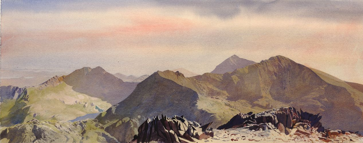 Snowdon group from Glyder Fawr, an original watercolour painting by Rob Piercy