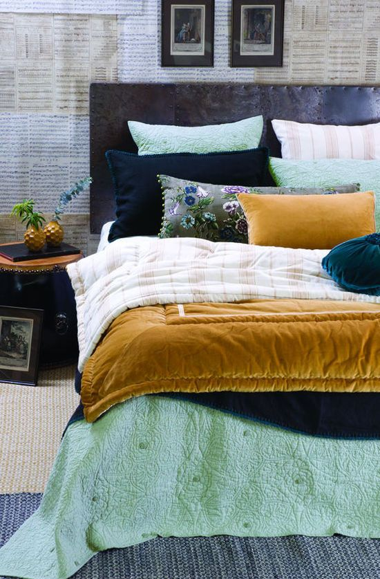 Image Of Mustard Velvet Comforter Cushion By Bianca Lorenne