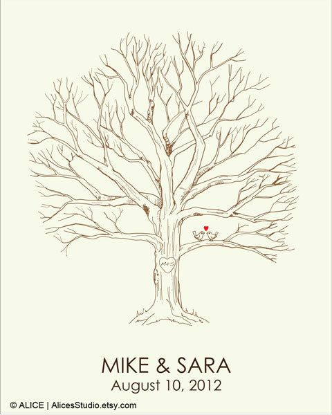 Canvas Wedding Tree Guest Book Hand Drawn Fingerprint Print Thumbprint Guestbook Free Gift With Purchase