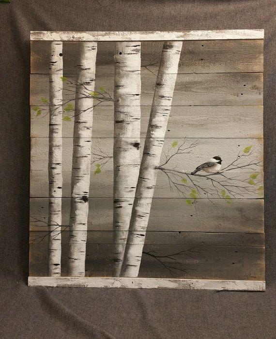 la peinture de bouleau blanc art murale palette bois. Black Bedroom Furniture Sets. Home Design Ideas