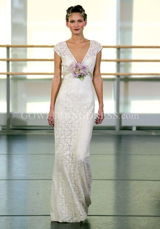 Mermaid V-Neck Floor Length Attached Cotton Crochet Lace Lace Wedding Dress Style Yolanda