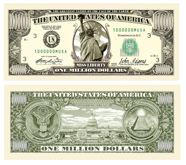 Amazon Com Set Of 10 Bills Traditional Million Dollar Bill Toys