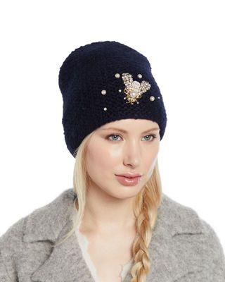 817ab1c1c44 Jennifer Behr Embellished Bee Knit Beanie Hat
