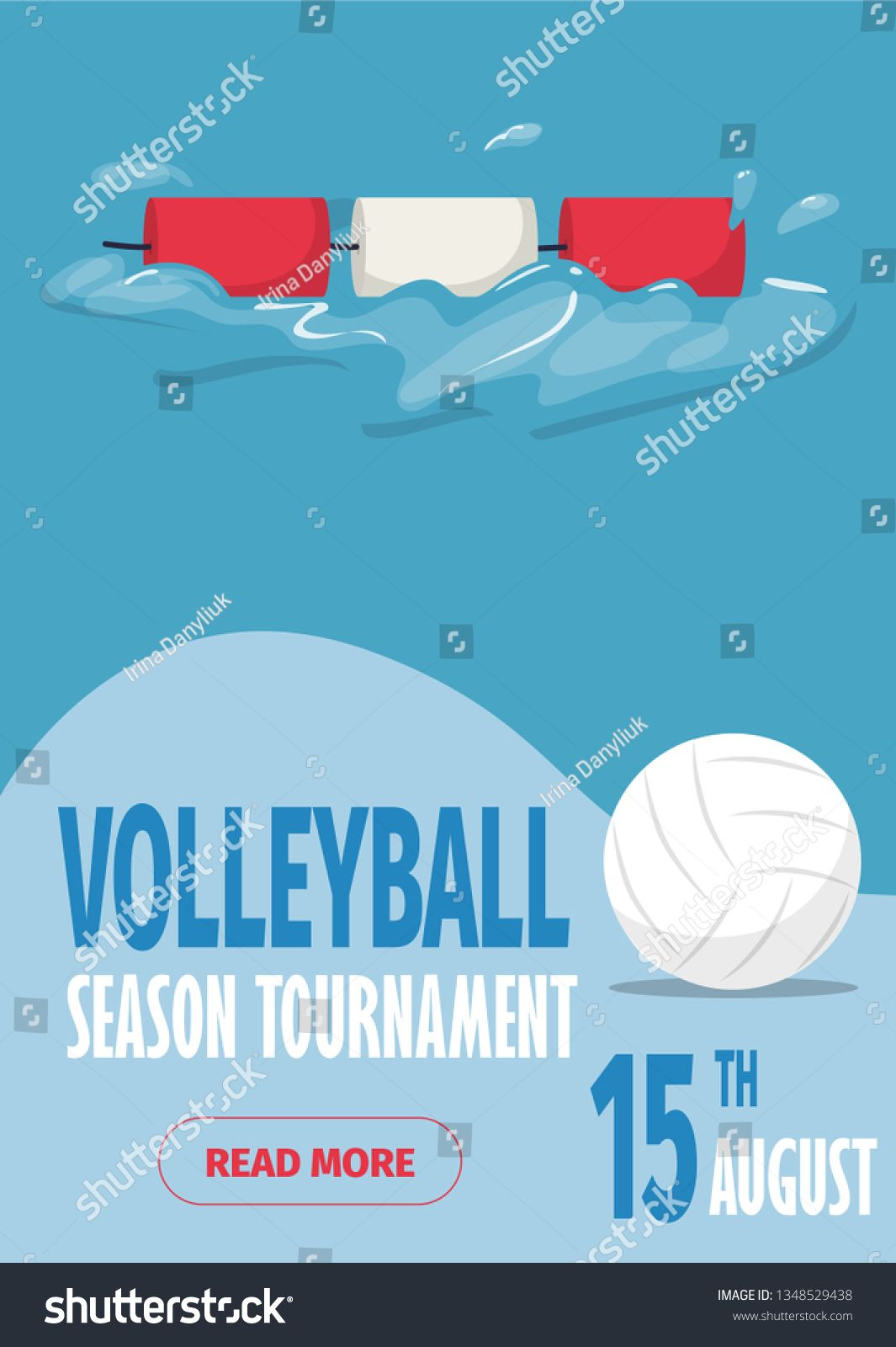 Beach Volleyball Sport Poster Vector Illustration Summer Playing Beach Volley Team Competition Invitation Pro Sport Poster Summer Invitation Beach Volleyball