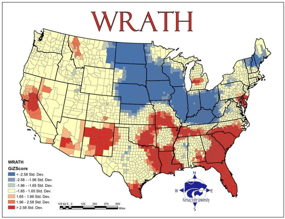 Maps of Seven Deadly Sins in America Wrath I Love Charts Pinterest