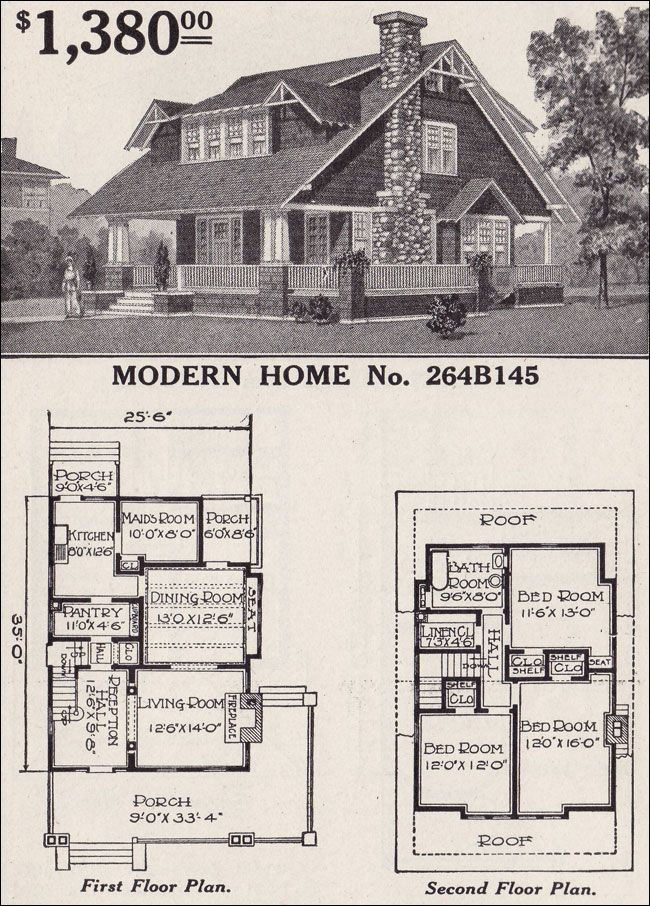 Sears Modern Home No 264b145 Large 1 1 2 Story Craftsman Style Bungalow House Plans Craftsman Style Bungalow Craftsman House Plans