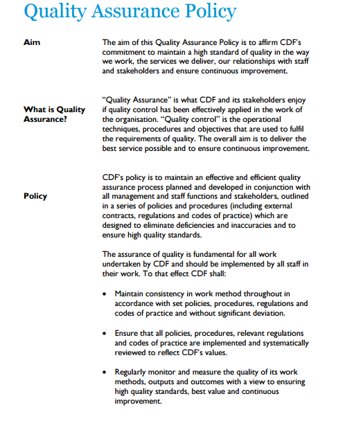 Quality Assurance Policy Template 154 Policy Template Quality Assurance Policies