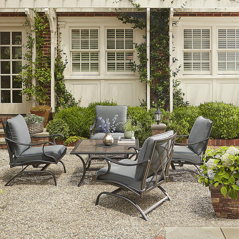 Grand Resort Collins 5pc Chat Set with granite - Outdoor ... on Porch & Patio Casual Living id=83718