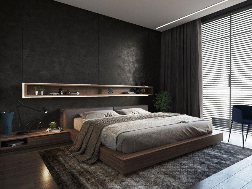 A chic apartment in odessa ukraine dark interiors for Bedroom bedhead design
