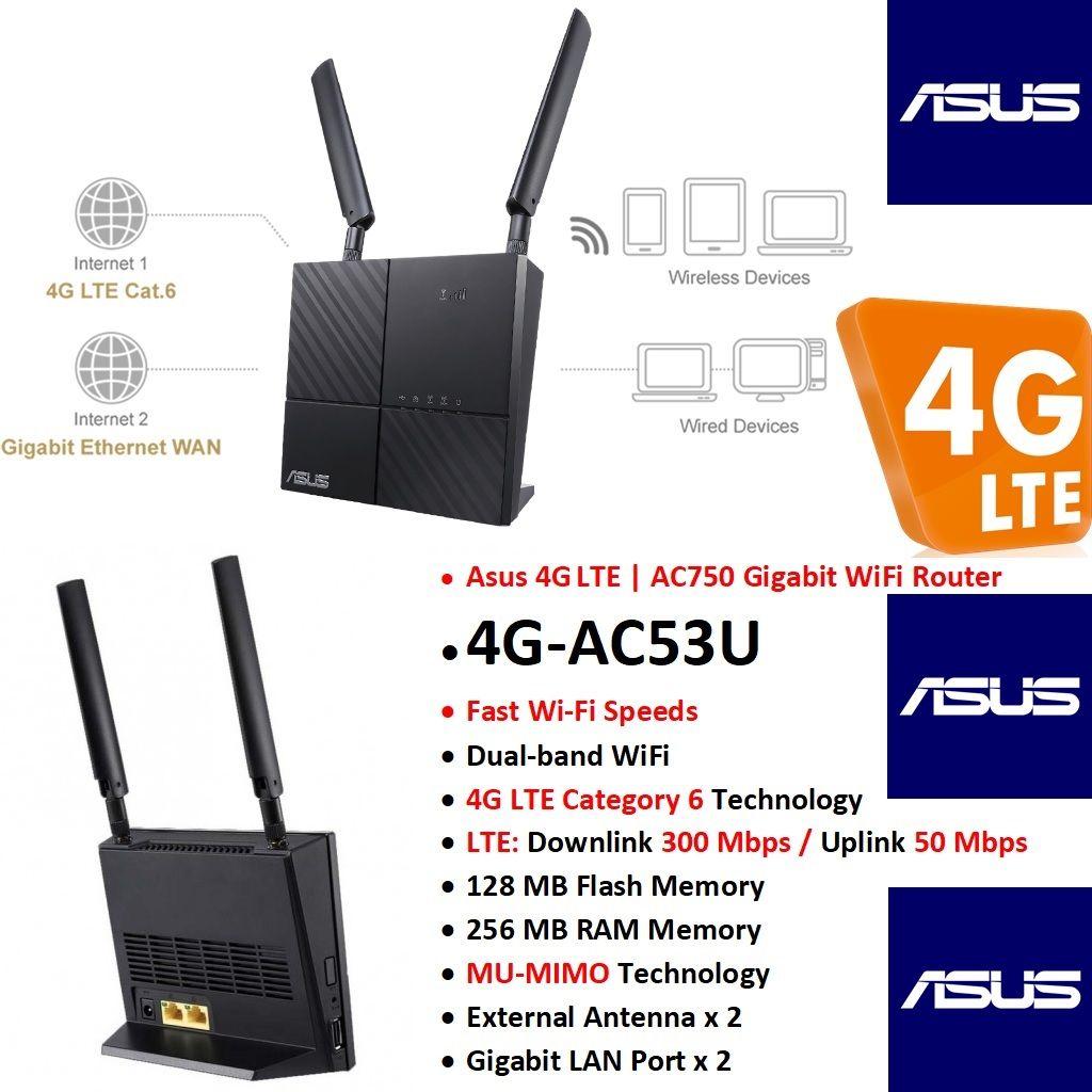 ASUS 4G-AC53U AC750, Dual Band 4G LTE CAT 6, WiFi Gigabit Router