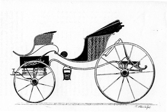 Phaeton - a 4-wheeled open carriage pulled by two horses. The front wheels were often lower than the back.