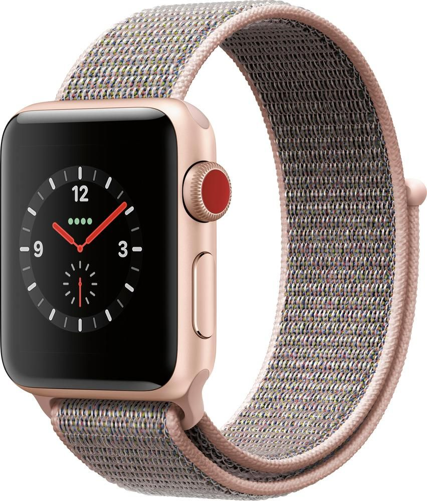 Apple Refurbished Apple Watch Series 3 Gps Cellular 38mm Gold Aluminum Case With Pink Sand Sport Loop Gold Aluminum Apple Watch Nike Buy Apple Watch Smart Watch Apple