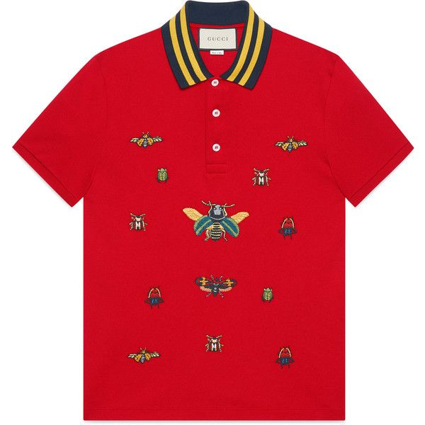 d78b60424 Gucci Cotton Polo With Insect Embroideries (14,420 MXN) ❤ liked on Polyvore  featuring men's