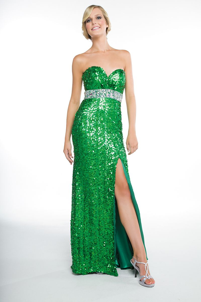 Green sequin formal gown strapless dress formal formal