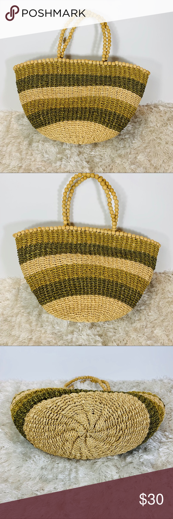 "Mini Straw Tote Bag Purse Khaki Green Natura Great straw bag There are two handles  The bag measures 9"" tall x 15"" wide at top The top edge of the purse is rimmed in wooden beads and handles are also beads One large compartment w a white small zipper fabric compartment- this fabric is mildly stained Magnetic closure  KK2 Bags Totes #woodentotebag"