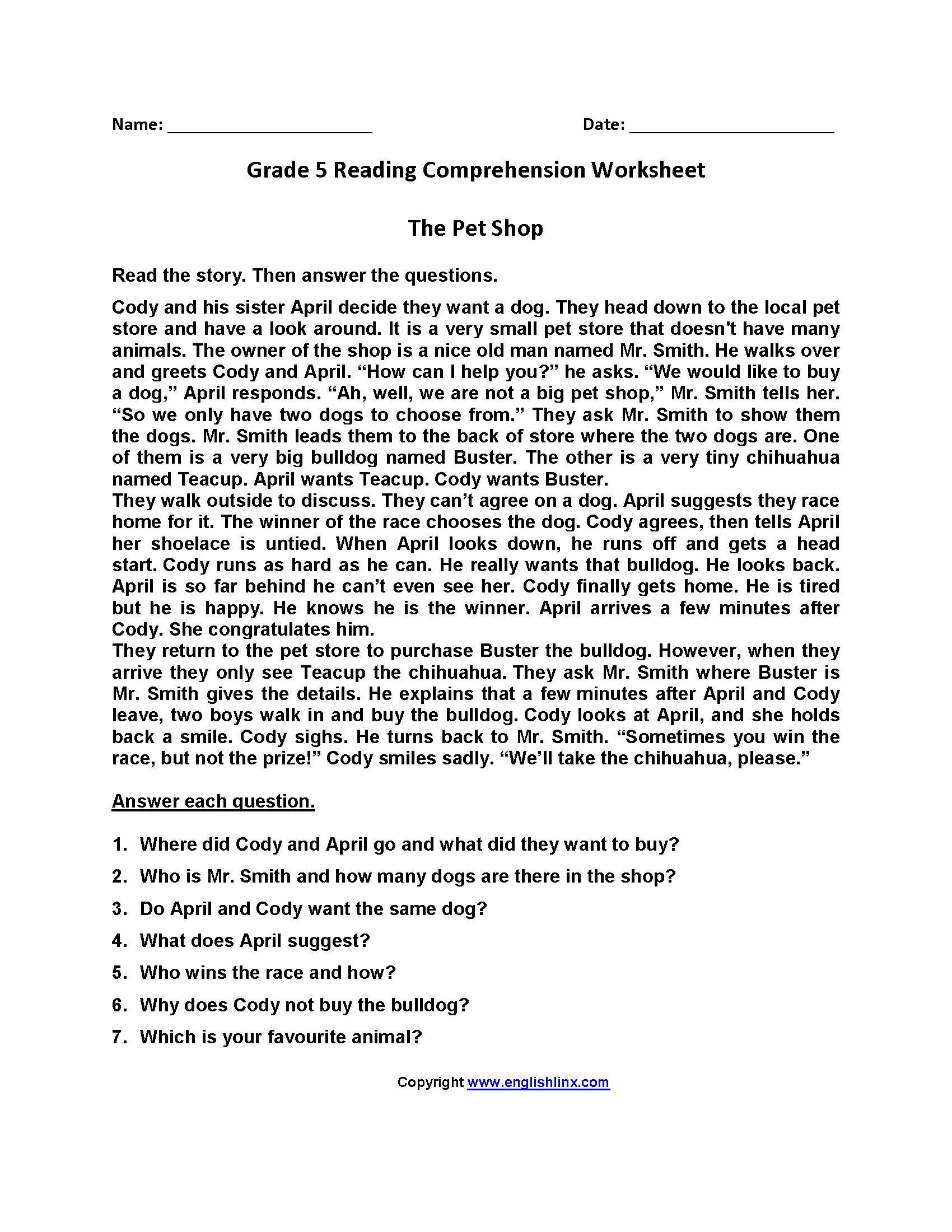 The Pet Shop Fifth Grade Reading Worksheets   Reading comprehension  worksheets [ 2200 x 1700 Pixel ]