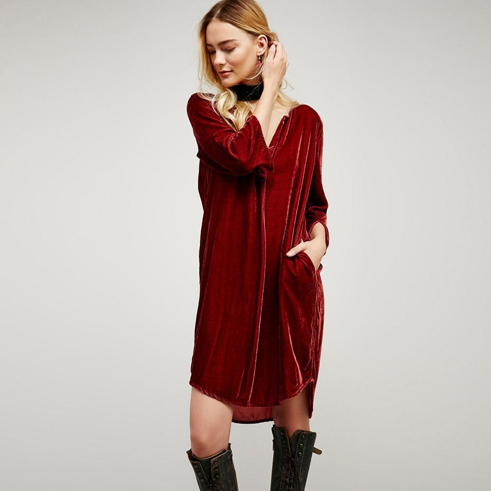 Casual bohemian velvet sack dress products pinterest products