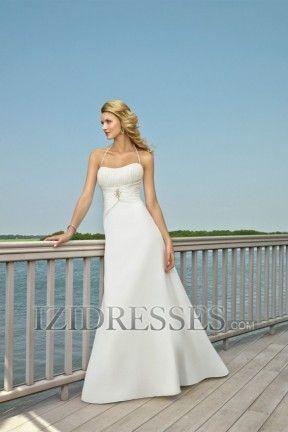 A-Line Princess Halter Chiffon Beach Wedding Dresses
