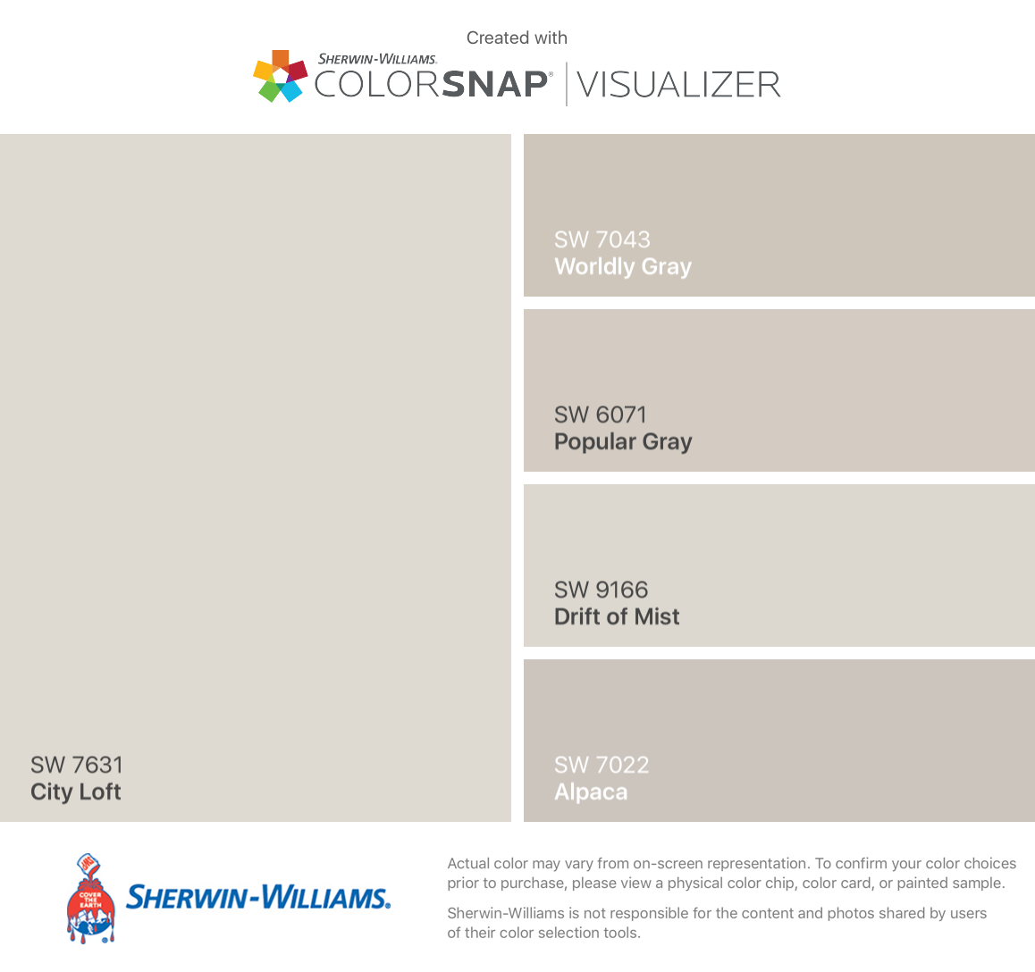 I found these colors with ColorSnap® Visualizer for iPhone by Sherwin-Williams: City Loft (SW 7631), Worldly Gray (SW 7043), Popular Gray (SW 6071), Drift of Mist (SW 9166), Alpaca (SW 7022). #cityloftsherwinwilliams