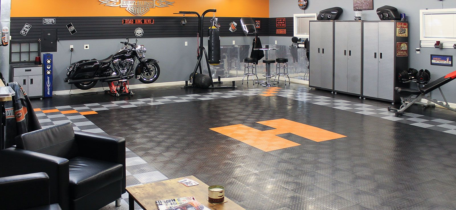 Garage Workshop In Garage Home For Car Garage And Two Car Garage Or Garage Motorcycle You Can Use Garage Flo Garage Floor Tiles Garage Floor Garage Floor Paint