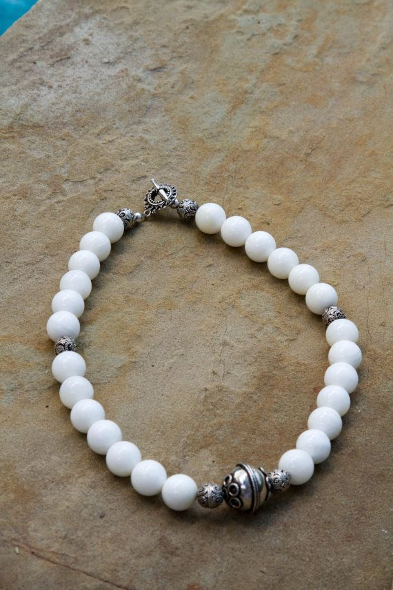 White Agate and .925 Bali Sterling Silver by ElliottClaireJewelry, $82.00