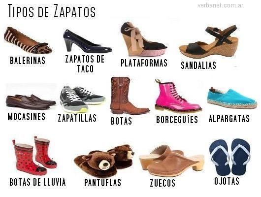 Tipos De ZapatosSpanish Spanish Learning Tipos cA34jL5Rq