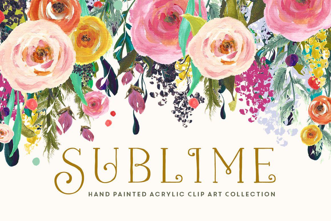 Sublime hand painted clip art by createthecut floral wreaths