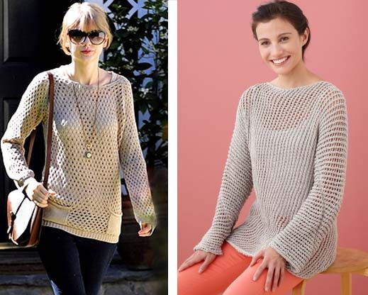 3074ebe4dde3 Celebrity Knitwear-TaylorSwift- Lion Brand recreates the look- free pattern  called Diagonal Mesh Pullover- knit in CottonEase