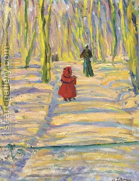 Henri Lebasque: Madame Lebasque et sa fille Martha au promenade, Montevrain