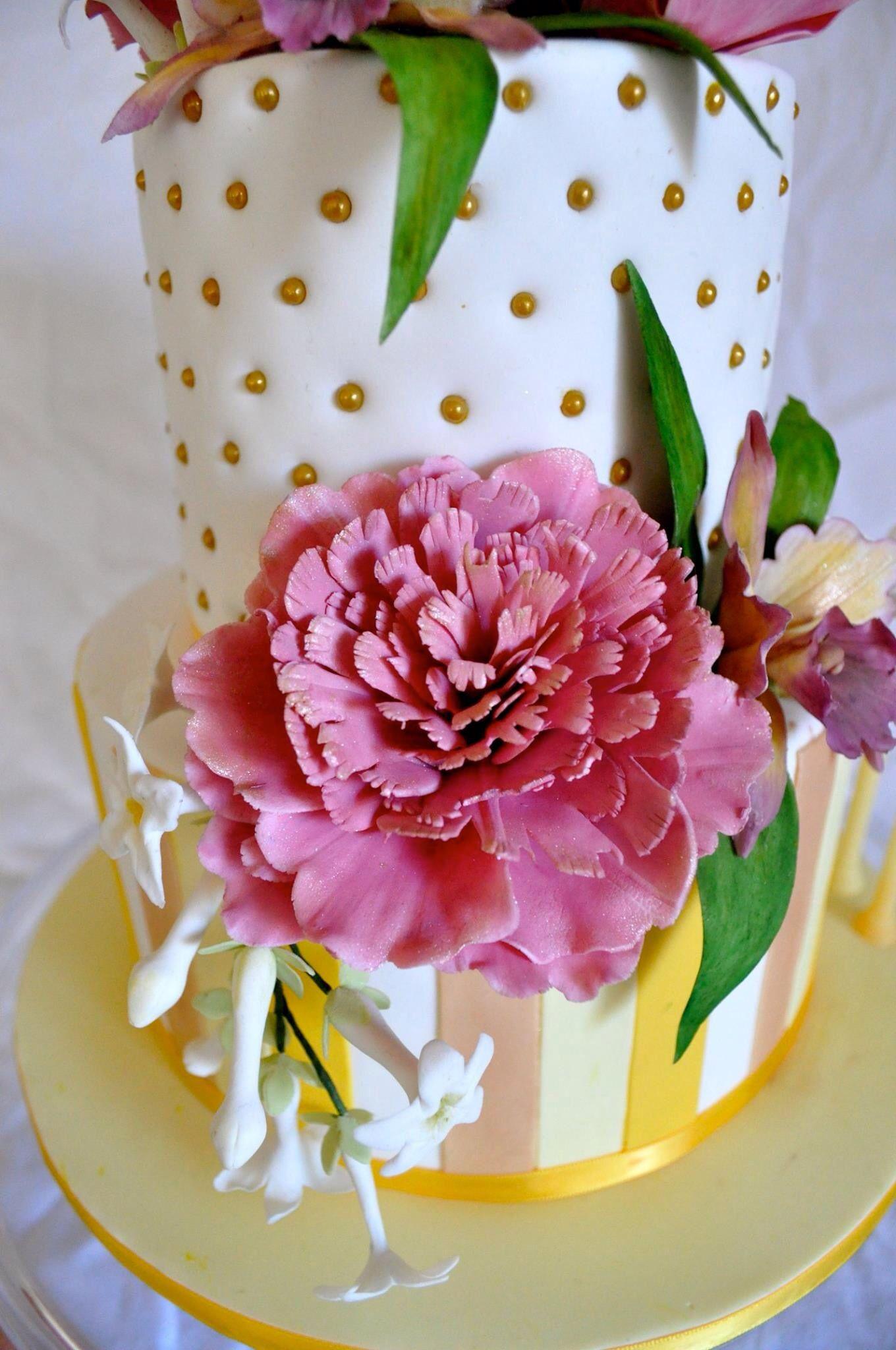 Birthday wedding cake sugar flowers peony orchid
